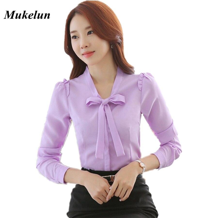 Moda Mujer Blusas  Otoño Casual de Las Señoras Delgado OL Oficina blusa blanca m