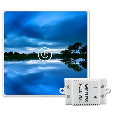 Saful Landscape Picture DIY Painting Touch Screen Wall Switch 1 Gang 1 Way Crystal Glass Switch Remote Wireless Touch Switch 2017 free shipping smart wall switch crystal glass panel switch us 2 gang remote control touch switch wall light switch for led