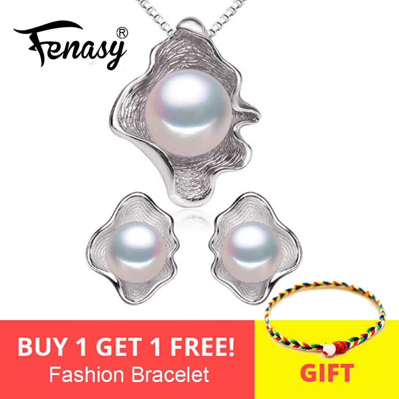FENASY Freshwater Pearl Jewelry Sets S925 Sterling Silver Natural Pearl Fashion Geometric Shell Design Necklace Earrings In Box