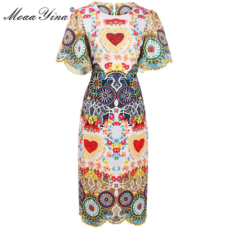 MoaaYina Fashion Designer Runway Dress Summer Women Flare sleere Floral Print Heart Beaded Indie Folk Casual Slim Vintage Dress