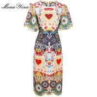 MoaaYina Fashion Designer Runway Dress Summer Women Flare sleere Floral Print Heart Beaded Indie Folk Casual Slim Vintage Dress