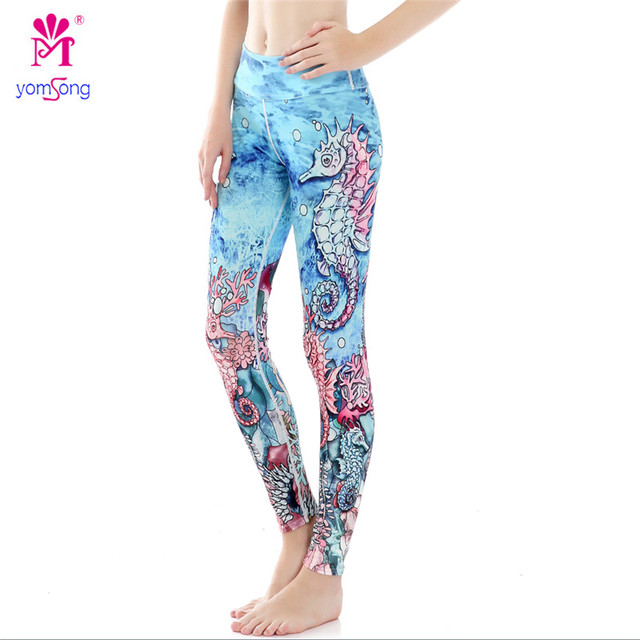 Yomsong 2016 Sea Horse Animal Printing Leggings Push Up Hip Pants Women  Pants Stretched Leggings 871