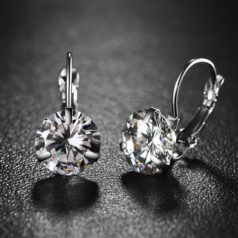 Super Flash Big Crystal Zircon Con Piedra plateada Earing Girls Fashion Jewelry Cubic Zirconia Pendientes Para Las Mujeres