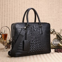 Real leather most popular crocodile pattern man bag 2018 New horizontal fine computer package real leather bag mail Messenger