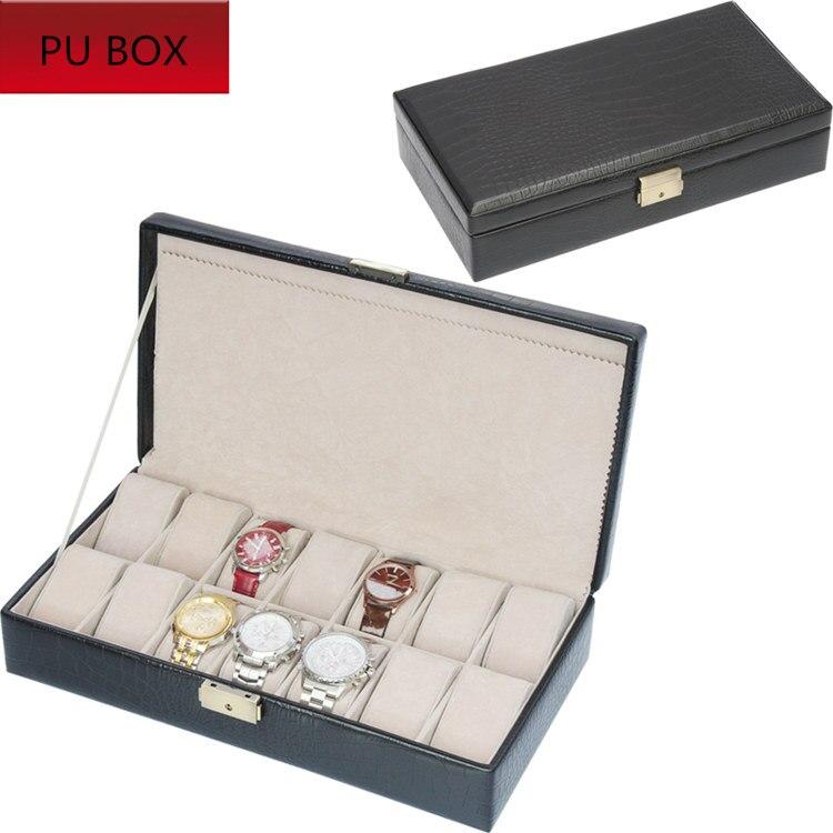 14 fentes montre boîte de rangement couleur noire en cuir montre boîtier de marque de mode montre boîte d'affichage montre cadeau valise C095