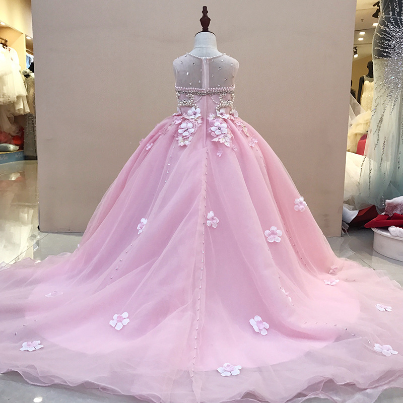Real Picture Princess Dress Ball Gown Beading Dress Kids Evening Gown Luxury Flower Girl Dresses for Wedding Long Trailing luxury princess dress evening gowns birthday floral pearl beading girls formal dress detatchable trailing flower girl dresses b