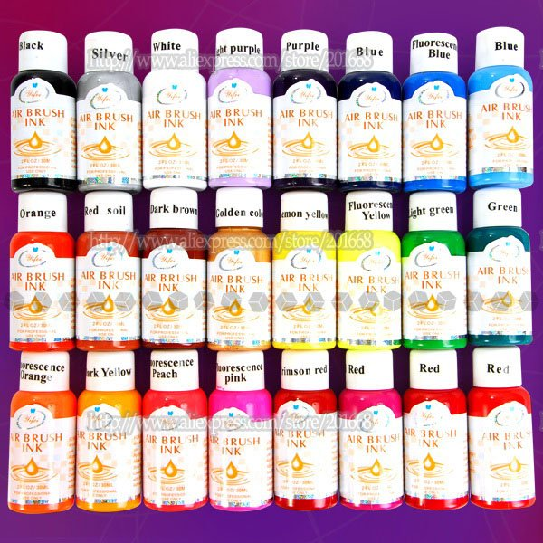 Free shipping 24 assorted colors 30ml airbrush acrylic for Basic acrylic paint colors to have