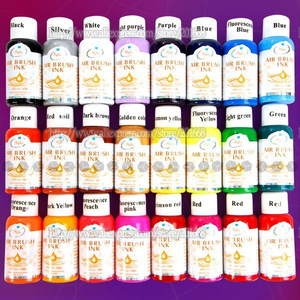 Free Shipping 24 Assorted Colors 30ml Airbrush Acrylic Paint Ink For