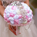 Crystal Wedding Bouquets With Rhinestone Tassel Chain Handmade Satin Roses Pink White Silk Bridal Bouquet Accessories