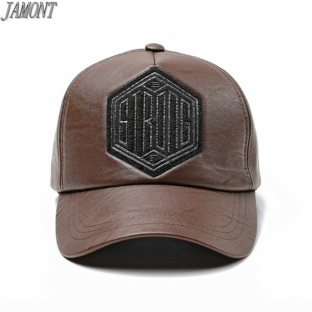 e8a458d20 US $8.33 30% OFF|Fashion New Trend autumn winter Baseball cap Male and  Female Faux leather hipster hip hop cap Snapback Hat Black coffee color -in  ...