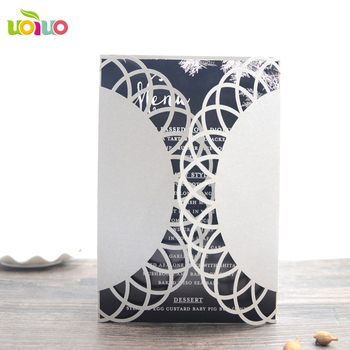 China professional invitation card manufacturer with facoroty price popular laser cut simple lace designs with ribbon bow