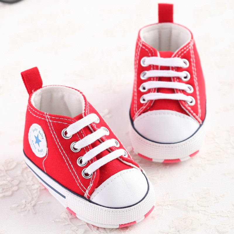 Red Newborn Baby Soft Bottom Anti-slip Prewalker Shoes