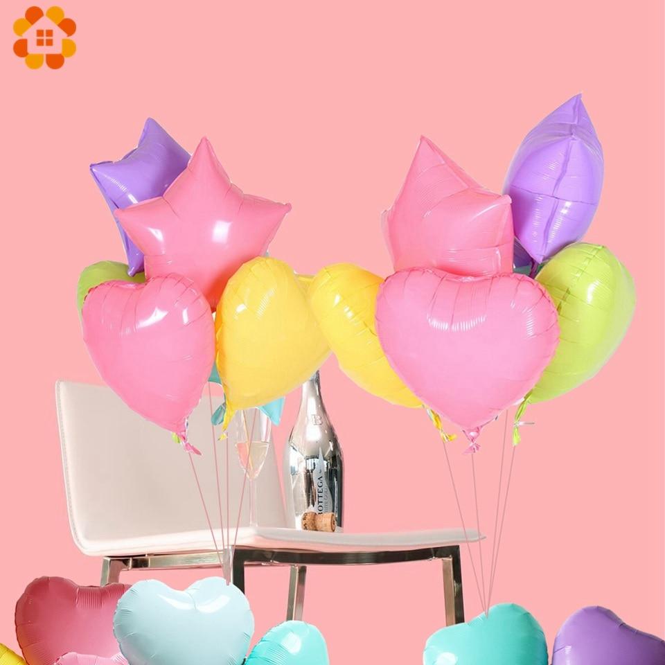 1/5/10PCS/Lot 18inch Heart&Star Shape Foil Balloons Macaron Color ...