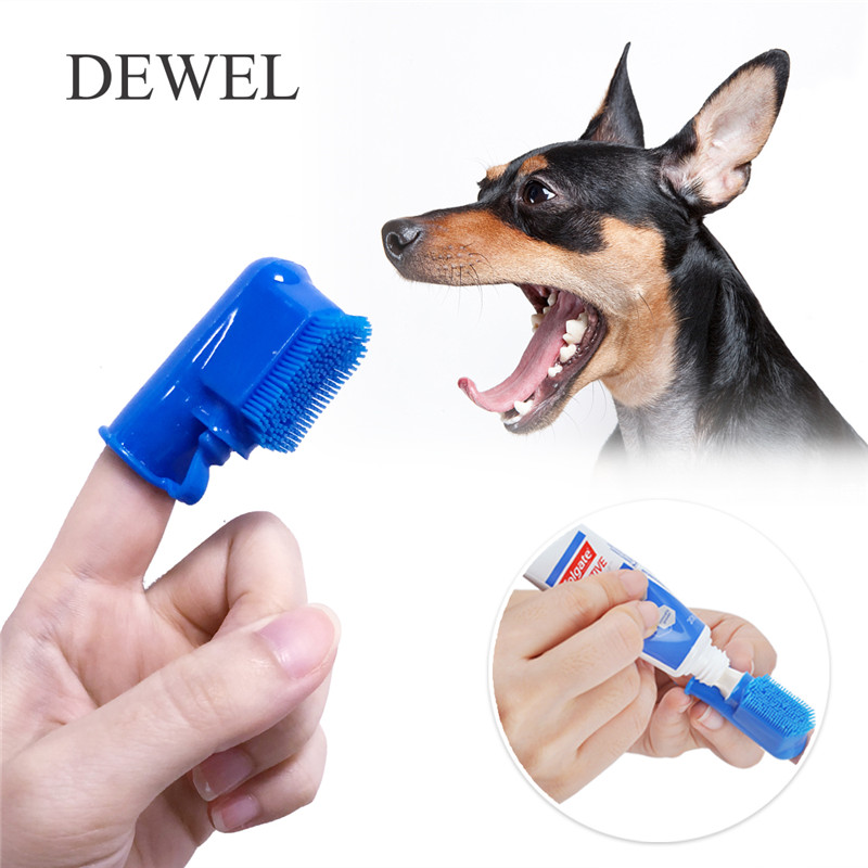 Dewel Pet Finger Toothbrush Dog Brush Spill-proof Breath Pet Teeth Brush Cat Dog Teeth Cleaning honden Tools Supplies Bad Breath image