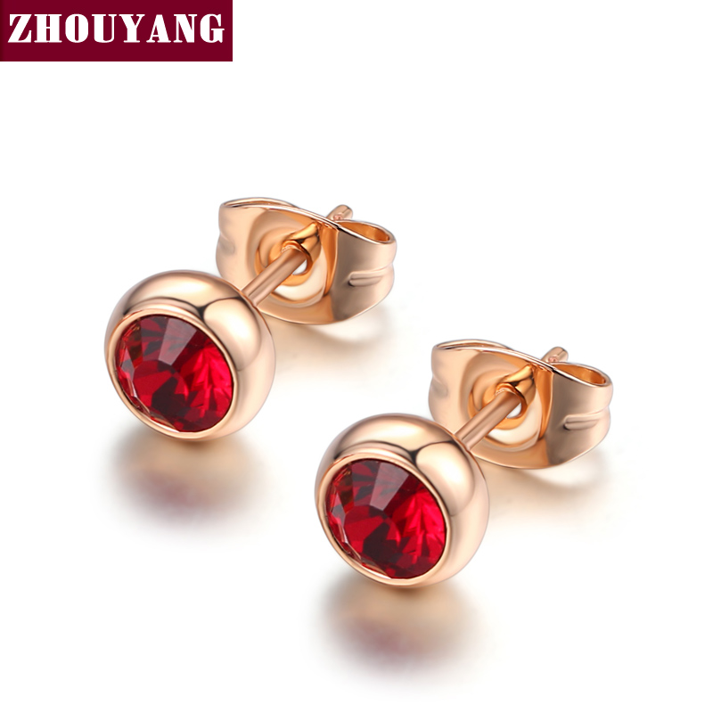 ZHOUYANG Simple Red Crystal OL Style Rose Gold Color Stud Earrings Colorful Gift For Women and Men Wholesale Top Quality ZYE641