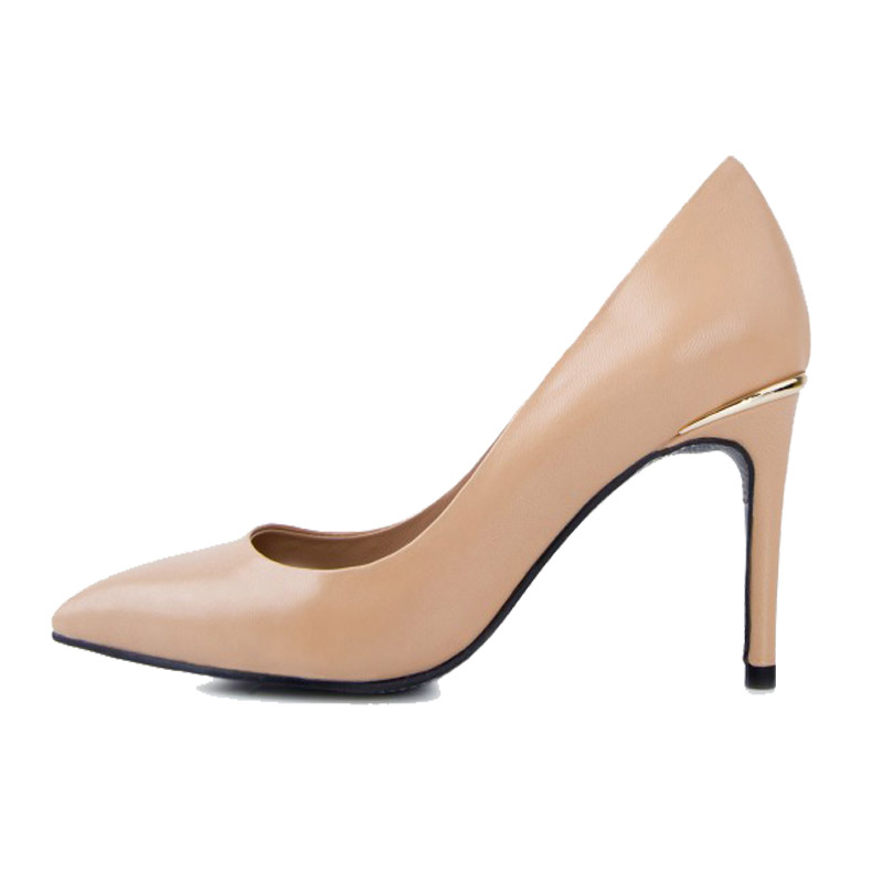 c9067dad082a76 Elegant Ladies Genuine Leather Pumps for Women Neon Yellow Black Nude Red  High Heels Shoes Comfortable Work Career Pumps