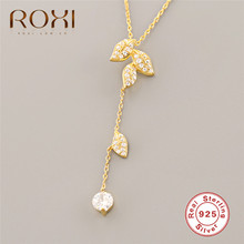 ROXI Gold Color Leaf Pendant Necklace for Women White Cubic Zirconia Long Tassel Genuine 925 Sterling Silver Jewelry