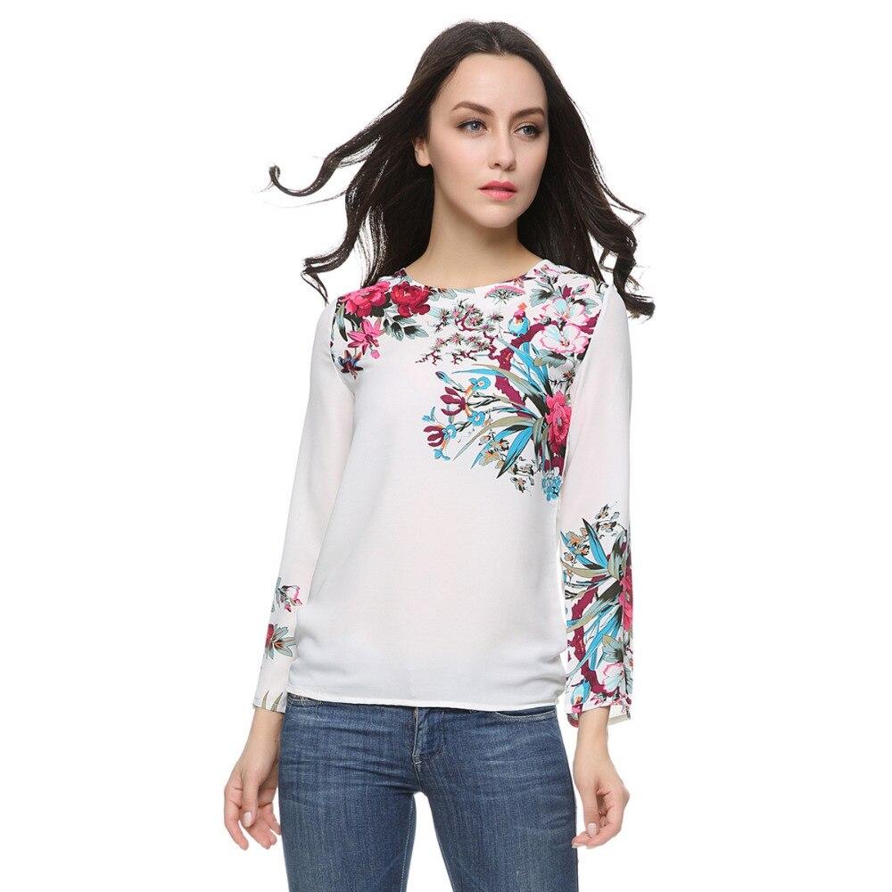 Women floral print white chiffon blouses vintage O neck ...