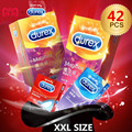 Durex 18/44/62/ Pcs Box Condoms Large Size 56mm Ribbed and Dotted Strawberry Flavored Kondom for Men Sex Toys Intimate Goods