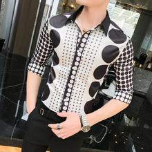 Men Shirts Dots Print Blouse Men Summer Camisa masculina Luxury Social Shirt Mens clothing Slim fit Unique design new model shirts stand collar white black camisa social mens shirt unique golden design blouse mens clothing slim fit