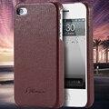 Para iphone 4s capa de couro retro lichi grain padrão voltar caso shell para a apple iphone 4 4s 4g couro real virar luxo telefone cobrir