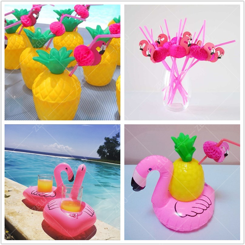 zljq 1pcs yellow pineapple coconut cup bottle 3d flamingo paper straw inflatable pool float cup holder hawaii party decoration - Party Decorations Cheap