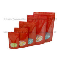 100pcs Red Stand Up Zip Lock Aluminum Foil Bag With Window For Tea Coffee Snack Seeds Gift Packing Bags Free Shipping(China)