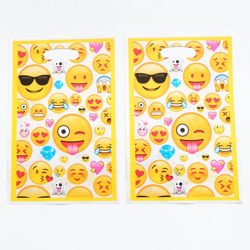 20pcs emoji loot bags kids birthday wedding party supplies emoji theme loot bags happy birthday gift return bags party supplies(China)