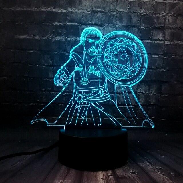 Hot Filme Avengers Figura 3D Ilusão LEVOU Doutor Estranho Kids Room Night light 7 Cor Carga USB Lava Amigos do Aniversário brinquedo de presente