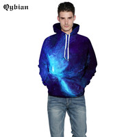 Qybian Trends in 2017 New Men Hoodies blue Space Galaxy Prints 3D Hoodie Sweatshirts Men's Casual Long Sleeve Brand Clothing