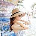 Sombrero de paja Sombreros de Verano para Mujeres Chapeau Femme de Playa Sólido Beige Caqui con Bowknot