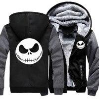 Jack Skellington Winter Thick Hoodies Zipper Coat Mens Tracksuit Sweatshirt Patchwork Jackets Warm Fleece Hoody Wholesale