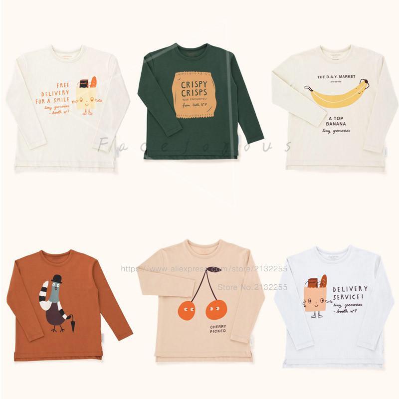 Crianças T-shirt Menino Minúsculo Algodões 2018 Outono Da Menina Da Criança Cereja Colhido Tops Meninos Saco Amigável do Gráfico Camiseta de Manga Longa 1-10Y