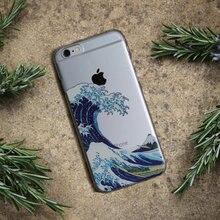 Dalga kapalı Kanagawa yumuşak TPU telefon kılıfı kapak için iPhone 7 artı 7 6 artı X XS Max 6 6 S 5 5 S SE Samsung Galaxy S8 S9 ...
