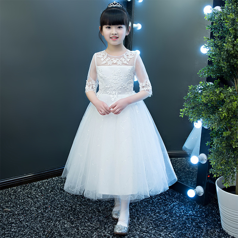 Elegant 2018 New Sequins Half Sleeve Mesh Cute   Flower     Girl     Dress   Kids Tea-length Princess Party Prom First Communion   Dresses