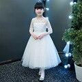 Elegante 2020 novo lantejoulas meia manga malha bonito flor menina vestido crianças chá-comprimento princesa festa de formatura vestidos de primeira comunhão