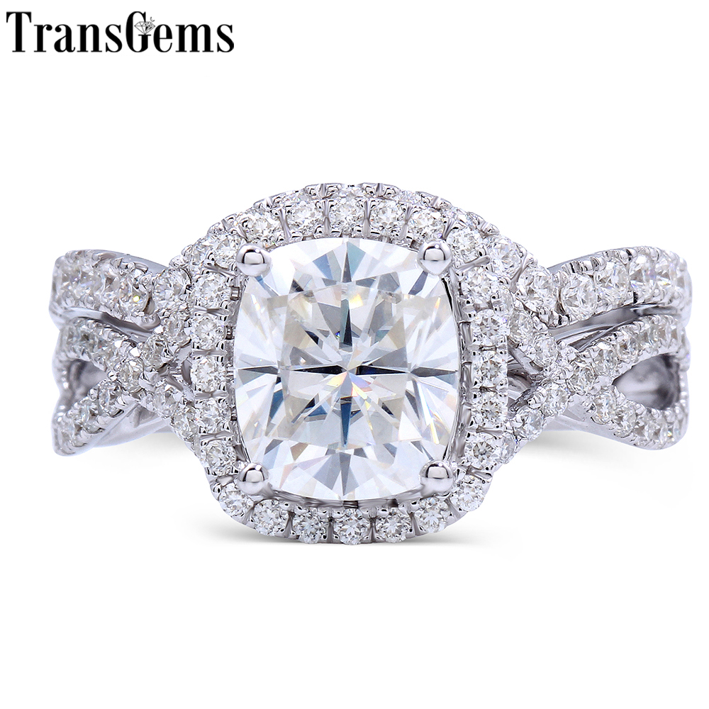 Transgems 14k White Gold Center 2ct 7x8mm Cushion Cut F Color Moissanite Diamond Engagement Bridal Ring Set For Women Wedding: Cushion Cut Moissanite Wedding Ring Sets At Reisefeber.org