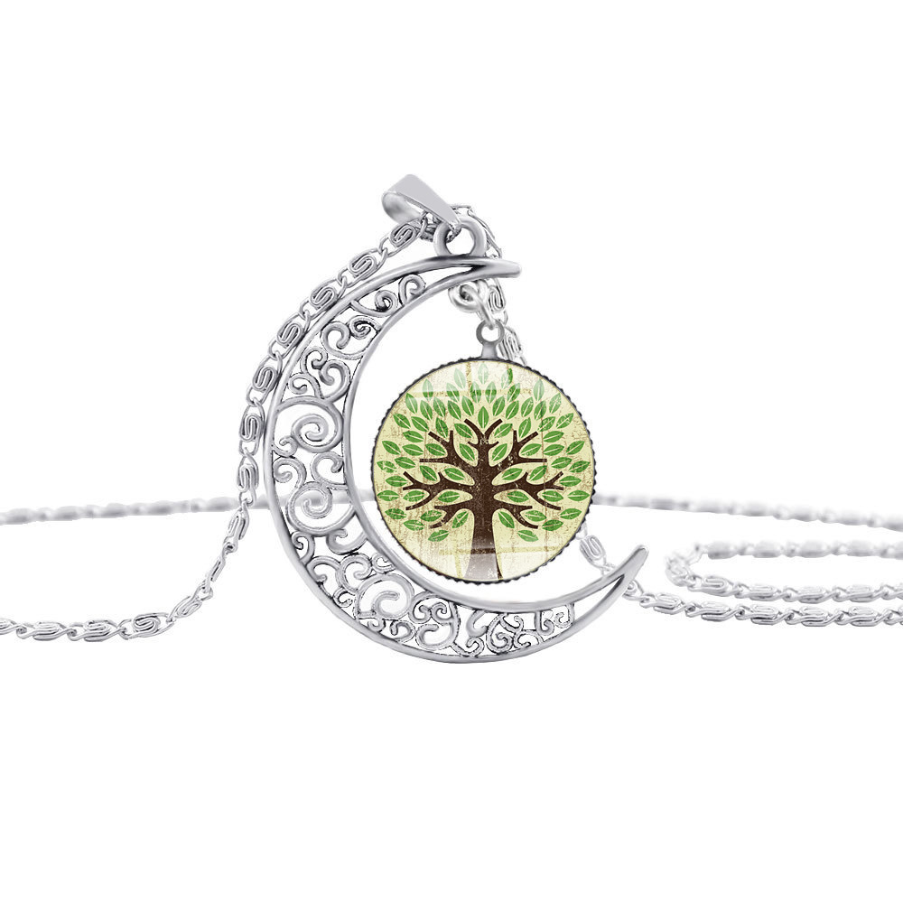 new crescent Bright moon life tree necklace half moon flower plant lucky amulet necklace hollow moon time pendant necklace in Pendant Necklaces from Jewelry Accessories