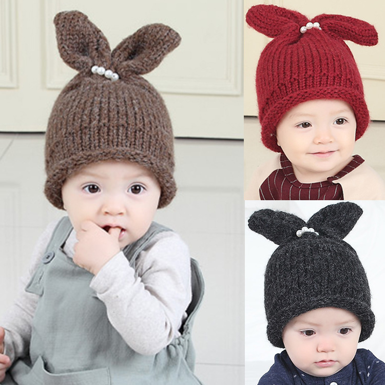 2017 Autumn/Winter Cartoon Rabbit Ear Baby Hat Cotton Warm Kids Skullies Beanie Knitted Children Caps Hats Girls Boys Infant Cap