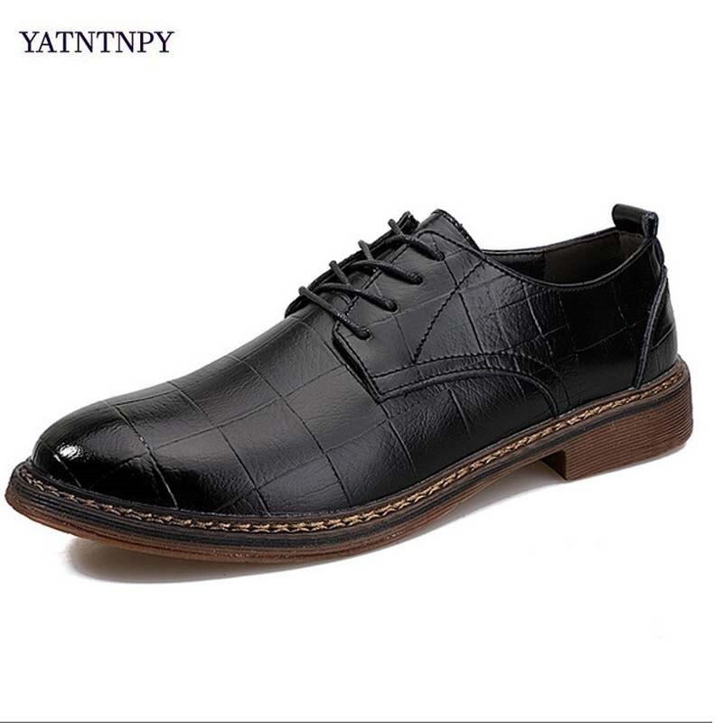Homem Pu Oxfords Negócios Moda Vestido Sapatos brown Couro Nova Yatntnpy Marca Preto Casamento Apontado Dedo De Black Homens q0EEP1