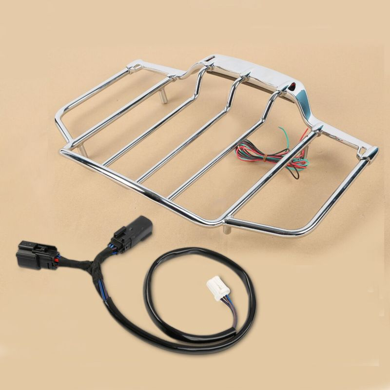 Chrome Tour Pak Pack Top Luggage Rack with LED Light For Harley Touring Road King Electra