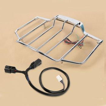 Motorcycle Chrome Tour Pack Top Luggage Rack with LED Light For Harley Touring Road King Electra Glide 2014-2020
