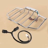 Motorcycle Chrome Tour Pack Top Luggage Rack with LED Light For Harley Touring Road King Electra Glide 2014 2020