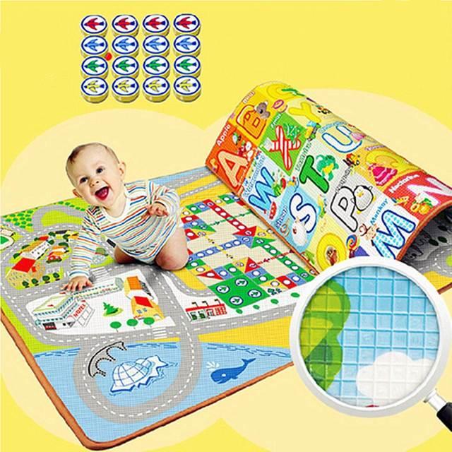 Espuma de EVA Impressão Duplo Piso Esteira do Jogo Do Bebê Ginásio Atividade Acolchoado Xadrez Vôo Tapete Desenvolvimento da Inteligência Do Bebê Brinquedos de Aprendizagem