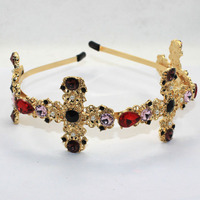 Europe Baroque Bridal Headband High End Elegant Gems Cross Hairband Cross Headband Free Shipping F044