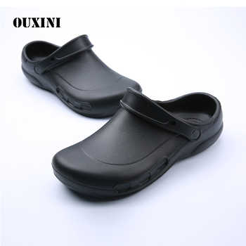 Male Chef Sandals Shoes for Kitchen Workers Super Anti-skid Shoes Black Cook Shoes Safety Clogs Oil-proof Waterproof - DISCOUNT ITEM  30% OFF All Category