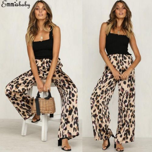 Hot Fashion Women Leopard Print Palazzo Wide Legs High Waist Flared Trousers Loose Long Pants Casual Autumn Outwear