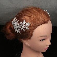 Diadem i korony HADIYANA Trendy piękny kwiat liść projekt elegancki dla kobiet luksusowe wysokiej jakości BC4763 Haar Sieraden Bruiloft
