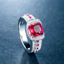Huitan Ethnic Women Ring Three Color Available Prong Setting Cocktail Party For Dark Red Blue Green Cubic Zircon