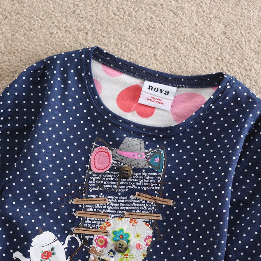 Baby Girl clothes Nova o-neck cotton child clothes fashion dot print embroidery cartoon pattern girl long sleeve t-shirt F2101